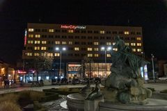 Inter City Hotel in Schwerin Germany november 30 2018. At night royalty free stock photography