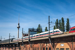 Inter City Train on a bridge in Berlin Royalty Free Stock Photo