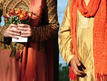Inter-cultural wedding. View of a newly wed couple, intercultural, inter-racial wedding royalty free stock photography