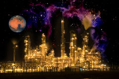 Inter-Galactic Oil Refinery. Image of an oil refinery against a background of stars, the moon and galaxies Royalty Free Stock Photos