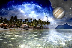 Inter-Galactic Space Beach. Image of a inter-galactic space beach stock images