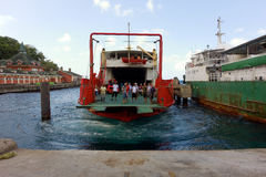 An inter-island ferry arriving at kingstown harbor Royalty Free Stock Photography