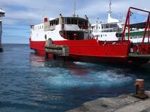 An inter-island ferry arriving at kingstown, st. vincent stock footage
