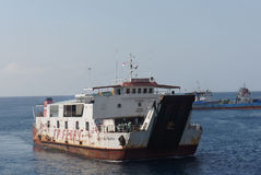 Inter-island ferry. Ferry crossings between the islands of Java and Bali island of Indonesia Stock Images