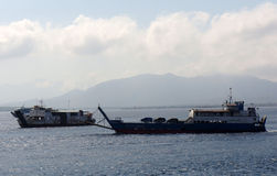 Inter-island ferry. Ferry crossings between the islands of Java and Bali island of Indonesia Royalty Free Stock Images