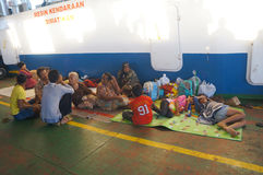 Inter-island ferry. Passengers are using the inter-island ferry to the islands of Karimun, Central Java, Indonesia Stock Image