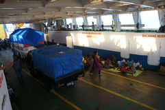 Inter-island ferry. Passengers are using the inter-island ferry to the islands of Karimun, Central Java, Indonesia Stock Photo