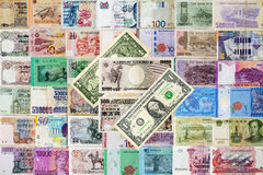 Inter national moneys background. Royalty Free Stock Photography