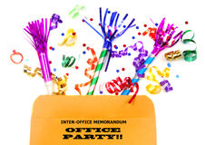 Inter-office folder with party favors. Inter-office memo file with party favors for an office party Stock Image