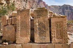 Inter-pietra, khachkar, al monastero di Noravank, l'Armenia fotografia stock libera da diritti