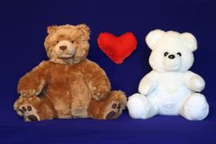 Inter racial couple 2. Brown and white teddy bears. Could be used where inter racial love/marriage related materials Stock Images