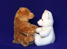 Inter racial couple 6. Brown and white teddy bears. Could be used where inter racial love/marriage related materials Royalty Free Stock Photography