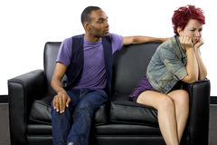 Inter-Racial Couple Fighting. Young black male and white female fighting Royalty Free Stock Images