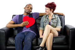 Inter-Racial Couple on Valentines Day Royalty Free Stock Image