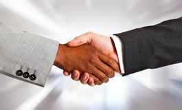 Inter racial handshake Stock Photo