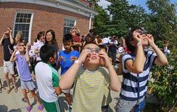 Interação com o eclipse solar de 2017 Foto de Stock Royalty Free