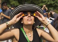 Interação com o eclipse solar de 2017 Foto de Stock
