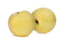 Intera pera verde di cuiyu della pera del diamon due isolata su bianco Fotografie Stock