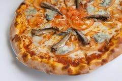 Intera pizza dei frutti di mare Immagini Stock