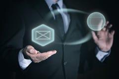 Interacción del concepto a través de iconos del negocio imagen de archivo libre de regalías