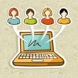 Interacción en línea de la gente social de los media