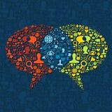 Interacción social de la burbuja del discurso de los media Imagen de archivo