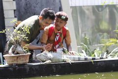 Interact with the animals. Scouts try to interact with the animals in the city of Solo, Central Java, Indonesia Stock Images