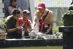 Interact with the animals. Scouts try to interact with the animals in the city of Solo, Central Java, Indonesia Stock Photo