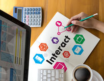 Interact Communicate Businessman working Connect Social Media So. Cial Networking Royalty Free Stock Photo