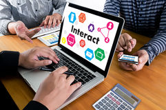 Interact Communicate Businessman working Connect Social Media So. Cial Networking Stock Image