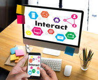 Interact Communicate Businessman working Connect Social Media So. Cial Networking Stock Images