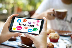 Interact Communicate Businessman working Connect Social Media So. Cial Networking Royalty Free Stock Photos