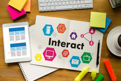 Interact Communicate Businessman working Connect Social Media So Stock Photos