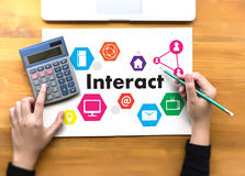Interact Communicate Businessman working Connect Social Media So Royalty Free Stock Image