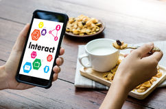Interact Communicate Businessman working Connect Social Media So Stock Photo