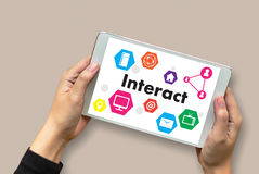 Interact Communicate Businessman working Connect Social Media So Stock Image