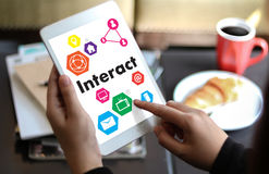 Interact Communicate Businessman working Connect Social Media So. Cial Networking Royalty Free Stock Photography