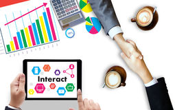 Interact Communicate Businessman working Connect Social Media So. Cial Networking Royalty Free Stock Images