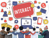 Interact Communicate Connect Social Media Social Networking Conc Stock Image