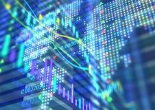 Interactieve financiële citaten en technische analyse Stock Foto's