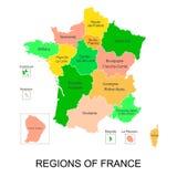 Interactieve kaart van metropolitans Franse gebieden met 5 gebieden overzee royalty-vrije illustratie