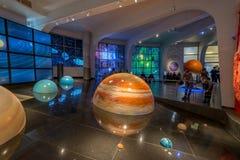 Interactieve spot van het zonnestelsel in het planetarium van museumurania in Moskou, Rusland Royalty-vrije Stock Foto