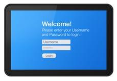 Interactieve tablet met het welkome scherm Stock Fotografie