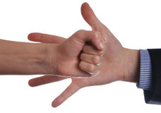 Interaction. Female and man's hands isolated on a white background Stock Image