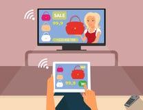 Interaction de Multiscreen La femme achète le rouge illustration de vecteur
