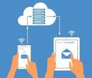 Interaction de Multiscreen Synchronisation d'email de illustration de vecteur