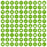 100 interaction icons hexagon green. 100 interaction icons set in green hexagon isolated vector illustration Royalty Free Stock Image