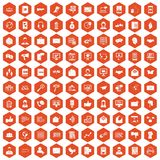 100 interaction icons hexagon orange. 100 interaction icons set in orange hexagon isolated vector illustration vector illustration