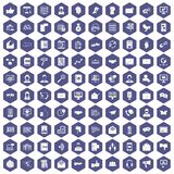 100 interaction icons hexagon purple. 100 interaction icons set in purple hexagon isolated vector illustration Stock Images