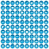 100 interaction icons set blue. 100 interaction icons set in blue circle isolated on white vector illustration Stock Photos